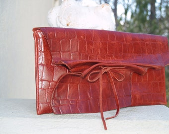 Red  Embossed Croc Leather Envelope Clutch Handbag with Tie Closure