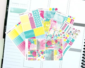"""Bright Floral/Rainbow/Pink """"Dwell in Possibility"""" Themed Planner Stickers for Erin Condren, Kikki K, Filofax, Happy Planner, Websters Pages"""