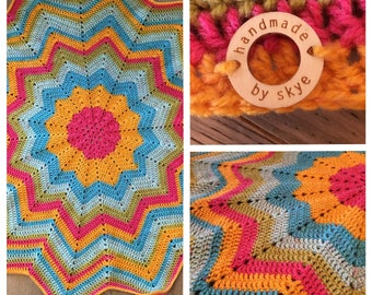 Rainbow Sherbet 12 Point Star Baby Blanket