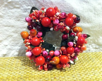 Vintage wreath of flowers, handmade flowers Berry wreath - miniature Doll House accessories or all kinds of decoration