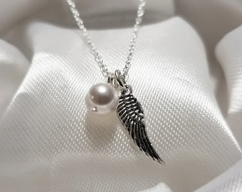 Solid Sterling Silver Angel Wing and Pearl Charm Necklace - Best Friend Gift, Memorial Necklace, Miscarry Jewelry, Bereavement Necklace