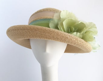 Sun Hat in Natural Straw with Ombre Green Ribbon and Flowers