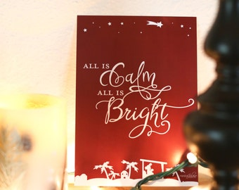 """5x7 """"All is Calm, All is Bright"""" // Christmas Print from Manda Julaine Designs"""