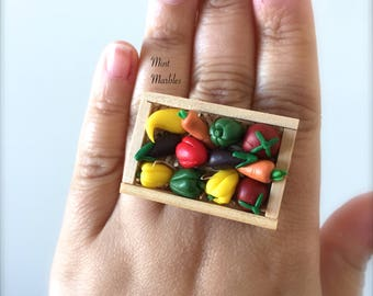 Miniature Vegetable Crate Statement Ring. Tiny Veggies. Farming. Healthy Eating. Wood Crate. Peppers. Carrots. Eggplant. Squash. Food Rings.
