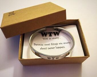 Wait to Worry inspirational Cuff Bracelet. Personalized Jewelry. Gift Bracelet.