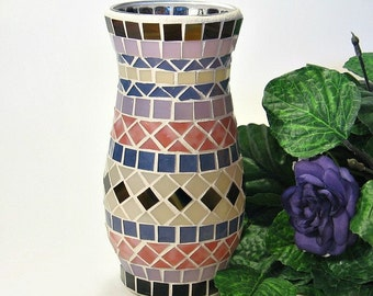Stained glass mosaic vase salmon pink, dusty purple, khaki and brown