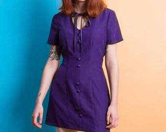 1960s Mod Dress purple mini scooter suedehead 70s dress Custom made