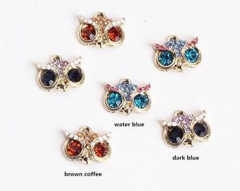 5PCS, 18x20mm, Owl Charms, Bird Charm, Crystal Pendant, Jewelry Charm, Bracelet Charm, Craft Supplies, Gold Tone