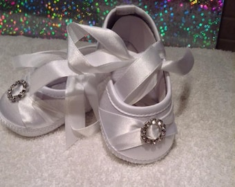 White christening Snow White shoes