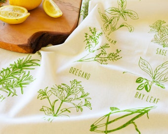 Flour Sack Towel - Kitchen Towels - Dish Cloth - Screen print - Herb Tea Towel - Organic Cotton