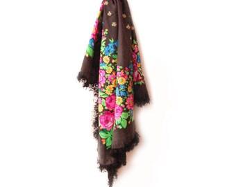 Vintage Black Russian Shawl, Flower Fringe Scarf, Boho Floral Shawl, Black Shawl, Bohemian Scarf Mother Day Gift Babushka Shawl Square Scarf