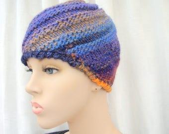 Hat crochet honey orange wool blue beige