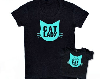 Cat Lady and Little Cat Lady Matching Set - Triblend Heather Black with Aqua Blue Print - Mommy and Me, Matching, Baby Shower