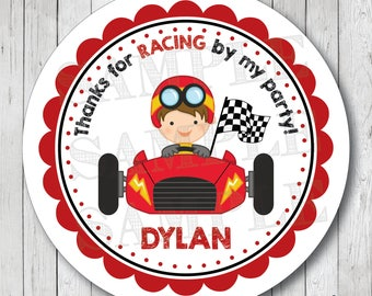 Race Car Personalized Birthday Stickers, Labels or Tags