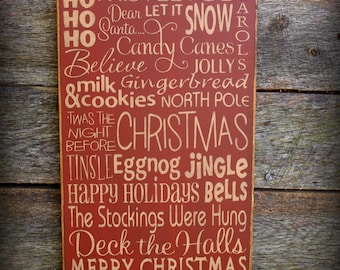 Tis The Season, Christmas Wood Wall Sign, Typography, Word Art, Subway Art, Primitive