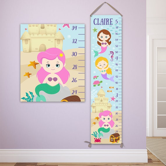 Mermaid Growth Chart - Personalized Canvas Growth Chart, Perfect for Mermaid Nursery - GC4335P