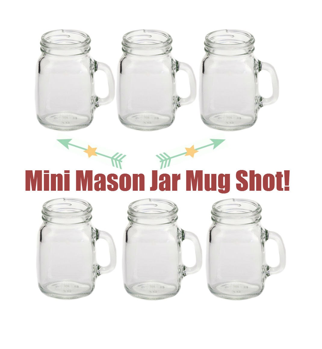 6 4oz Mini Mason Jar Mug Shot Glasses Set of 6