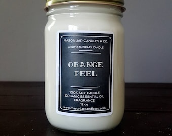 Orange Peel Candle, Citrus Candle, Blood Orange Candle, Essential Oil Candle, Orange Candle, Mason Jar Candle, Soy Candle, Vegan Candle