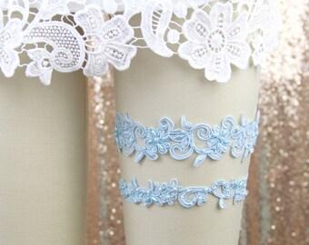 Wedding Garter Set,Light Blue Beaded Lace Wedding Garter Set, Light blue Lace Garter Set,Blue Toss Garter, Blue Wedding Garter Set, GT-21A