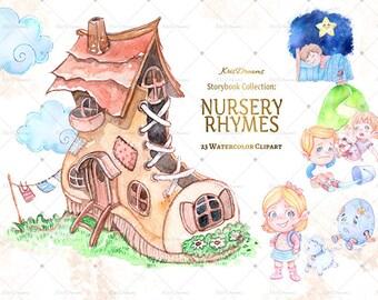 Nursery Rhyme Clip Art Watercolor Clip Art Children's Book Illustration Nursery Rhymes Illustration Jack and Jill Humpty Dumpty