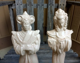 """Vintage Oriental Ceramic Figurines Asian Royalty Glazed Statues Height 12"""" Year 1981 Signed Lynn-Don"""
