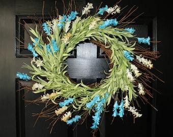 Summer Wreath, Front Door Wreath, Blue  Wreath, Blue Cream Flowers  Wreath, Farmhouse wreath, Wreaths, Cottage Wreath.