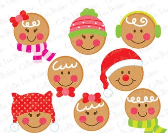 Gingerbread Faces Christmas Digital Clipart, Christmas Clipart, Cute Gingerbread clipart (CG207)