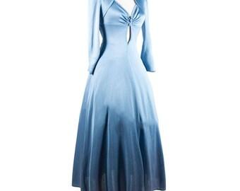 Vintage 1970s Ice Blue Dress