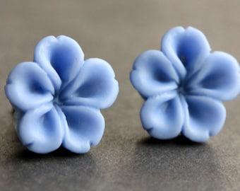 Blue Flower Earrings. Cornflower Blue Earrings. Bronze Post Earrings. Innie Flower Button Jewelry. Stud Earrings. Handmade Jewelry.