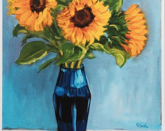 Fine Art Print from Original Sunflower Oil painting, Flower Painting, Wall Art, Yellow Flowers