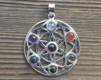 STERLING SILVER .925 PURE Silver Flower Of Life Chakra Pendant