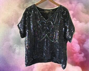 80s Black Iridescent Sequin 100% Silk Dynasty Blouse Short Sleeve V Neck Drapey Disco Diva Top