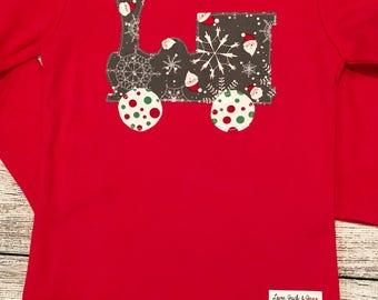 Christmas shirt boy, Christmas train shirt, boys train shirt