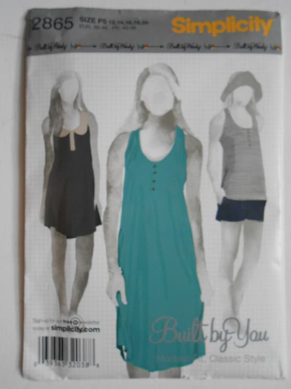 Sleeveless Tank Knit Dress, Pull Over Top Sewing Pattern Built by ...