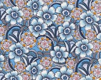 Floral Fabric by the Yard, Quilt, Cotton, Retro, Daisy, Shabby Chic, Paisley, Michael Miller, Vintage, Lacey, Small Print, Blue, Gray, Decor