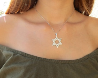 Magen david pendant etsy sterling silver star of david necklace star of david pendant necklace jewish jewelry aloadofball Image collections
