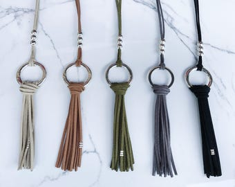 BARCA // Suede Fringe Hoop Necklace / Fringe Necklace / Tassel Necklace / Trendy Necklace / Layering Necklace