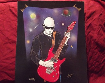 "Satriani on Guitar is a Limited Edition  10""x13"" Print by artist Charles Freeman"