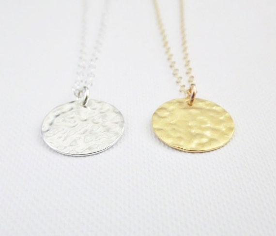 Gold Disc Necklace Hammered Disc 24k Gold Vermeil or