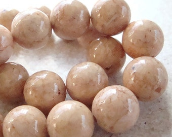 Fossil Beads 10mm Natural Sand Desert Brown Smooth Round Stones - 12 Pieces