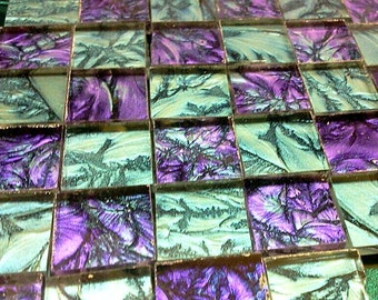 2 Color VIOLET & BLUEGREEN Van Gogh Stained Glass Mosaic Tile B12/23