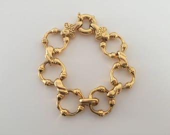 Vintage Elegant Gold Tone Sterling Silver Turkish Bamboo Chain Link Bracelet Item # (15)