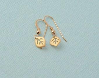 Tiny gold leaf earrings 14k gold filled minimalist