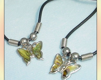 2 Abalone Shell Butterfly Necklaces 1990s