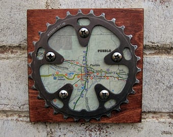 "5""x5"" Recycled Bicycle Chainring Pueblo Map Plaque"