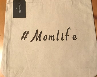 Mom life canvas tote bag