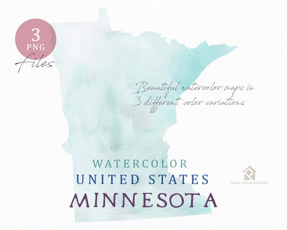 Minnesota Map, Watercolor Map, Digital Map, Map Clipart, Wall Art, Color Map Clip Art, Custom Map, Watercolor Map
