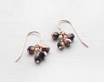 "dangle earrings - 14k goldfill drop earrings, modern everyday earrings, beaded earrings, gift for her, ""lucky"" earrings in bronze and black"