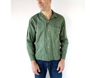1960s Men's Shirt | Olive Green Shirt | 60s Shirt | S M
