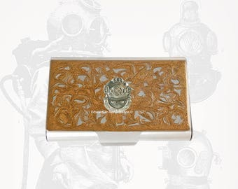 Deep Sea Diver Helmet Large Business Card Case Nautical Steampunk Inspired Inlaid in Gold Swirl Design Enamel with Personalized Options
